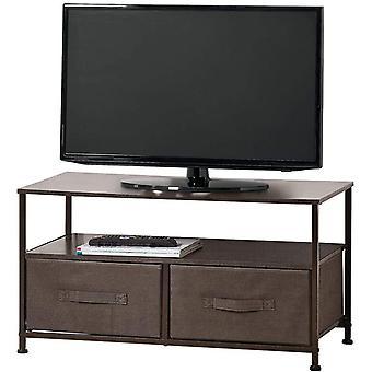 TV-Vorstand mit Ordnungsboxen schmaler Fernsehtisch mit Ablage und 2 Stoffkörben