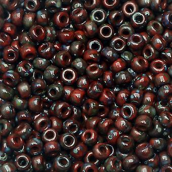 Perline di semi rotondi Miyuki, 8/0, tubo da 22 grammi, #94513 Picasso Opaco Granato Rosso Opaco Opaco Opaco