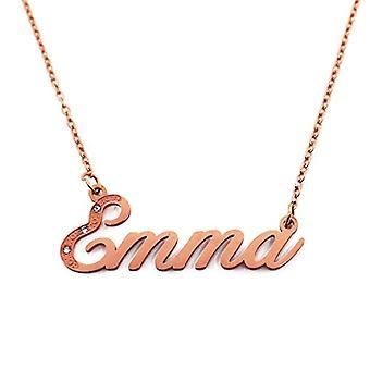 Kigu Emma - Anpassningsbart namn halsband med kubiska zirkoner, rosenguld pläterad, anpassningsbar