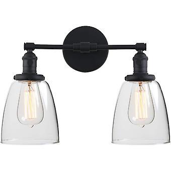 FengChun Industrielle Wand leuchten Fitting mit Oval Glas Schatten 2 Lichter Vintage Flur Wandlampen