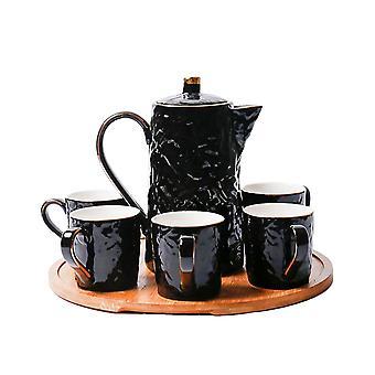 Creative Water ripple shape High temperature ceramic Coffee & tea set large capacity afternoon tea set with wood pallet