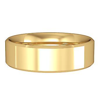 ジュエルコ ロンドン 18ct イエローゴールド - 6mm エッセンシャル フラットコートベベルドバンドコミットメント / 結婚指輪