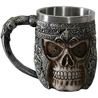 HanFei 400ML Totenkopf Kaffeekrüge Viking Totenkopf Bierkrüge Edelstahl Liner Geschenk für Männer Vatertag