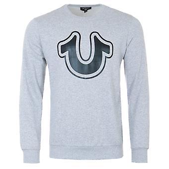 True Religion Metallic Horseshoe Crew Neck Sweatshirt - Heather Grey