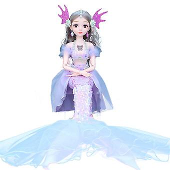 Single 60cm mermaid barbie doll joint movable music intelligence for girls gift