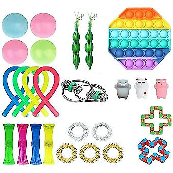 26pcs Silicone Rainbow Push Pop Bubble Stress Reliefrs Set For Kids