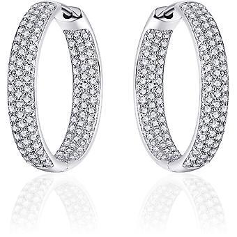 Gisser Jewels - Pendientes - Pendientes con bisagra - Ligeramente laminado con Zirconia - 4mm de ancho - 23mmØ - Plata rotada 925