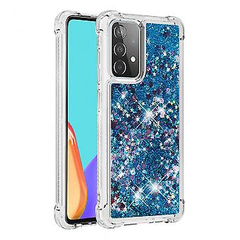 Case For Samsung Galaxy A52 Bumper Cover Sparkly Glitter Bling Flowing Liquid - Blue