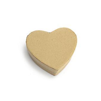8.5cm Coeur Plat Papier Mache Box avec couvercle pour décorer | Boîtes Papier Mache