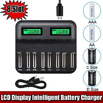 LCD univerzális akkumulátortöltő AA AAA C D újratölthető akkumulátorokhoz Több akkumulátor töltő