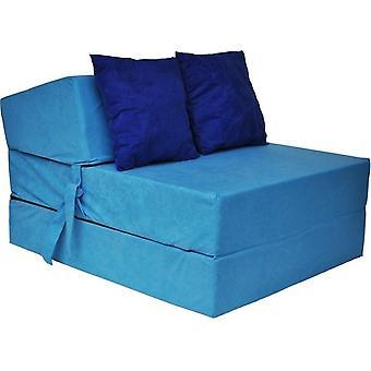 Matelas de couchage de luxe - bleu - matelas de camping - matelas de voyage - matelas pliable - 200 x 70 x 15 - avec oreillers bleu foncé