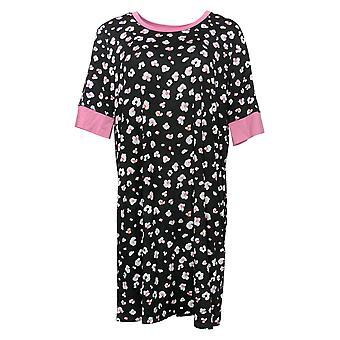 رمز الراحة من قبل الحضن دودز المرأة الأزهار طباعة Sleepshirt الأسود 682887