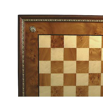 Elm Wood Chess Board With Gold Trim