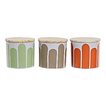 Sugar Bowl DKD Home Decor Bamboo Stoneware (3 ks)