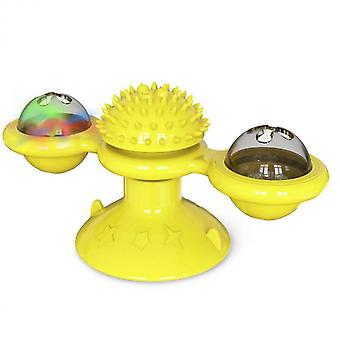 Turntable Cat Toy With Suction Cup Brush Scratching Tickle Massage Hair Brush
