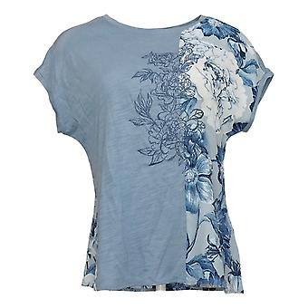 DG2 by Diane Gilman Women's Top Mixed Media Embroidered Tee Blue 655644
