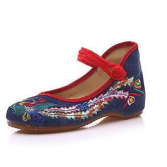 Women's Chinese Retro Ethnic Embroidery Low Heel Flat Elevator Cheongsam Dress Shoes Asakusa Flower