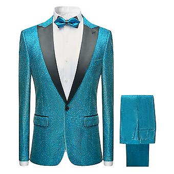 Mile Men's Shiny Two-piece Single-breasted Suit (single Suit + Trousers) Blue