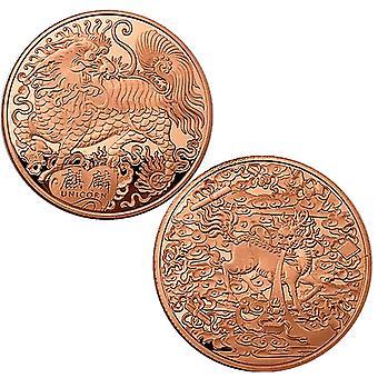 Animal chinois de bon augure Kylin Collection de pièces commémoratives Coin Dragon Scale Pièce de bon augure Lucky Coin Lion Head