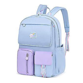 Fandare Children's Backpacks School Backpacks Boys Girls Youth School Backpacks For 3-6 Grade Student Travel Hiking Daypacks Waterproof Nylon Purple P