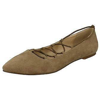 Ladies Spot On Lace Up Flats F80169
