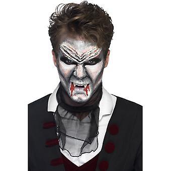 Maquiagem de látex líquida conjunto vampiro Drácula 4 cores com espátula vermelho preto branco cinza