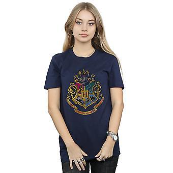 Harry Potter Women's Hogwarts Distressed Crest Boyfriend Fit T-Shirt