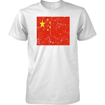 China Distressed Grunge Effect Flag Design - Mens T Shirt