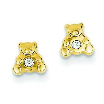 14 k amarelo ouro polido aberto trás Post brincos bPara meninos ou meninas brincos com Zirconia cúbico para meninos ou meninas Earri
