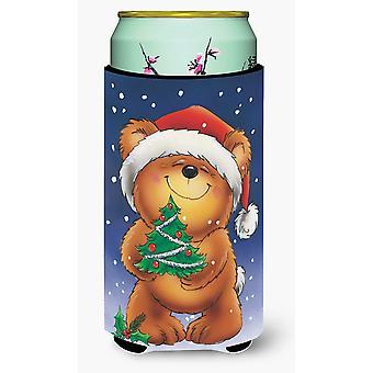 Teddy Bear and Christmas Tree Tall Boy Beverage Insulator Hugger