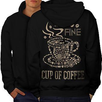Coffee Cup Hot Fine Food Men BlackHoodie Back | Wellcoda