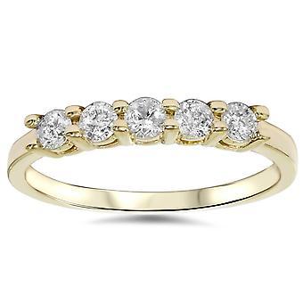 3/4ct Diamond 5-Stone bryllupsdag 14K gult gull ring