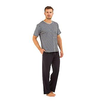 Haigman Mens Navy Cotton Long Trouser & Striped T-Shirt Pyjama Set