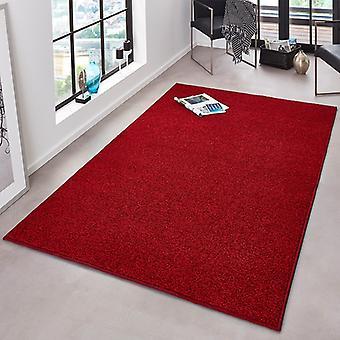 Rizado uni pura alfombra de terciopelo rojo