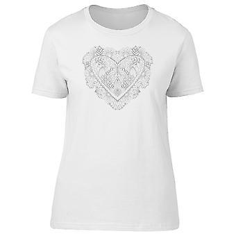 Черно-белые цветочные сердца Tee женщин-изображений Shutterstock