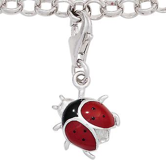 Single earrings charm Ladybird 925 sterling silver rhodium plated red black