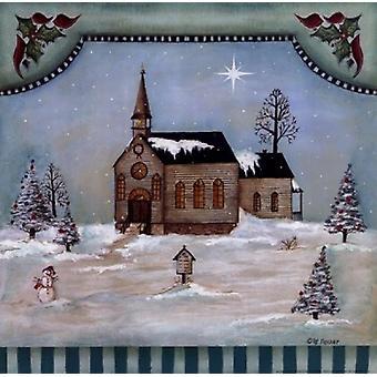 Église d'hiver Poster Print par Pat Fischer (12 x 12)