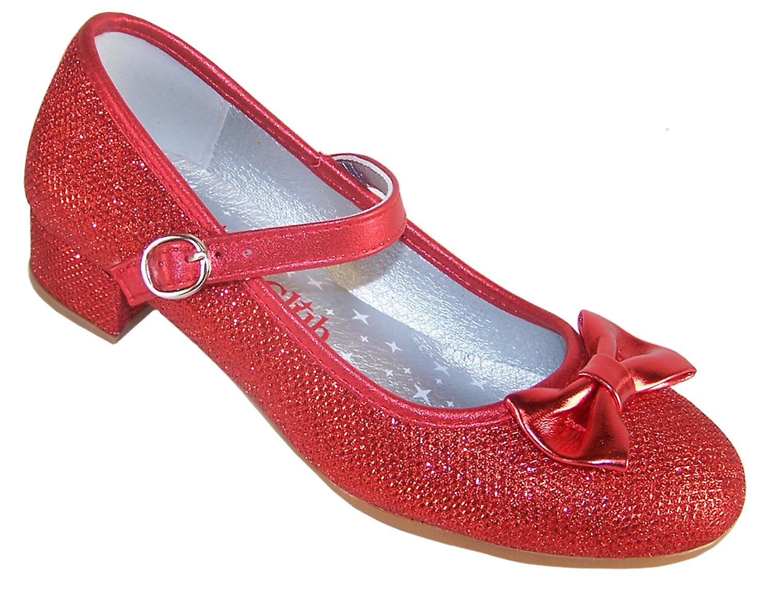 Girls red sparkly low heeled party shoes