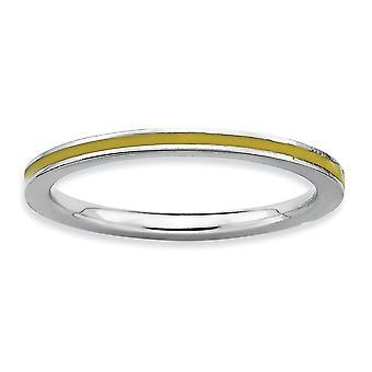 925 Sterling Zilver gepolijst Rhodium verguld stackable expressies geel geëmailleerd 1,5 mm Ring Sieraden Geschenken voor vrouwen - R