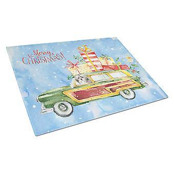 Merry Christmas Shih Tzu Puppy Cut Glass Cutting Board Large