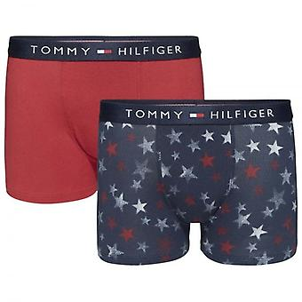 Tommy Hilfiger Boys 2 Pack Icon Boxer Trunk, Navy Blazer Stars / Scooter Red, Medium