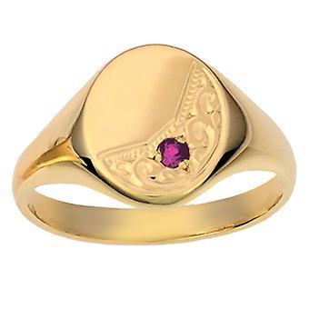 9ct золота 14x12mm твердой рукой выгравированы овал граната задать размер Z перстень
