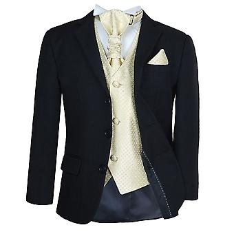 Boys New 5 Pc Black & Gold Wedding Cravat Suit