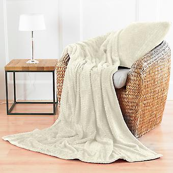 Country Club Chevron Microfibre Blanket, Cream