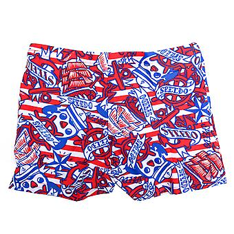 Kleinkinder Speedo Essential Allover Print Aqua Shorts In Red Blue-All Over