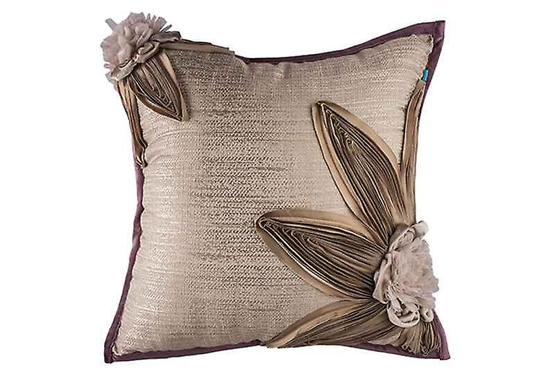 Embroidered Floral Petals Throw Pillow Cover