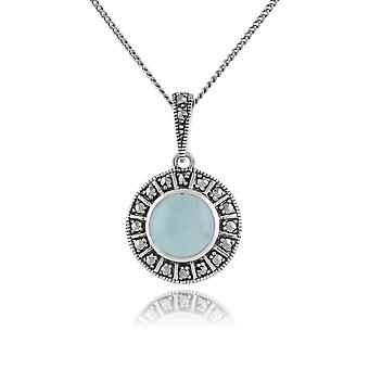 Art Deco Style Round Milky Aquamarine Cabochon & Marcasite Pendant Necklace in 925 Sterling Silver 214N646507925