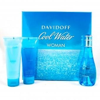 Davidoff cool water woman - women set 100 ml Eau de Toilette EDT 75 ml body lotion & 75 ml show er gel