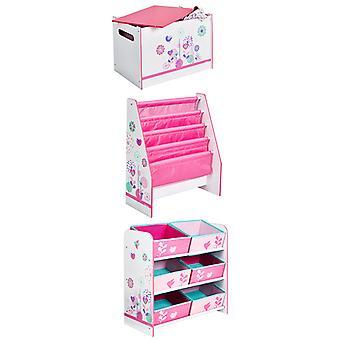 Conjunto de almacenamiento de muebles de dormitorio de flores y pájaros