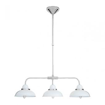 Premier Home Jasper Pendant Light, Chrome, Acier inoxydable, Blanc